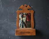 Vintage Mirror Opens Kitchen Wood Shelf With Eagle Americana Kitchen Primper Holds Lipstick and Makeup From Nowvintage on Etsy