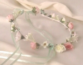 Rustic Chic pink mint green Flower crown flower girl halo Bridal hair wreath Rustic Chic wedding accessories Woodland floral circlet garland