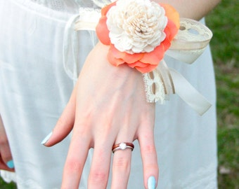 Frilly flowers Corsage for the Lovely Ladies in Coral