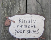 Remove Your Shoes Sign - Hand Painted Wood Lamb