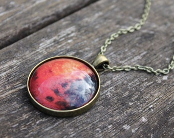 Planet Mars - LARGE Galaxy Solar System Glass Dome Necklace