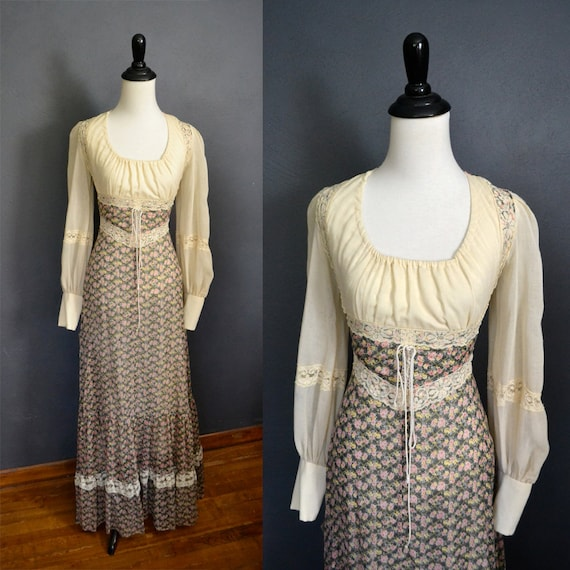 1970's Gunne Sax Prairie Dress with Corset Front / Long Lace Sleeves / Floral Maxi Dress / size xs to small