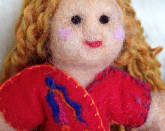Natural Needle Felted Wool Doll