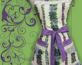 Womens Purple Apron, Violets in Purple and Blues rows clusters and Teacups.