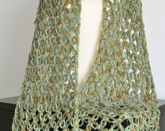 Vintage Green - Crochet Multicolor Chunky Yarn Long Scarf/Shawl