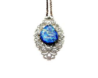 Blue Jasper Pendant Necklace Victorian Pendant Necklace Long Vintage Style Dark Romance Antique Silver Penny Dreadful Flare by Mei Faith
