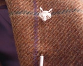 Sterling silver 3d fox head tie lapel stick pin