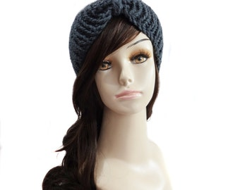 Double Knit Ear Warmer Headband - Charcoal Grey - Other colors available!