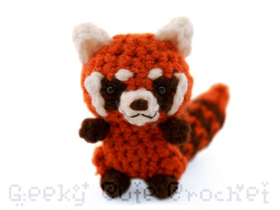 Red Panda Amigurumi Crocheted Plush Toy Kawaii Animal Forest