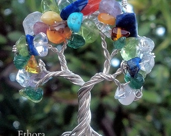 Custom Tree Necklace - Recycled Sterling Silver and Natural Gemstones