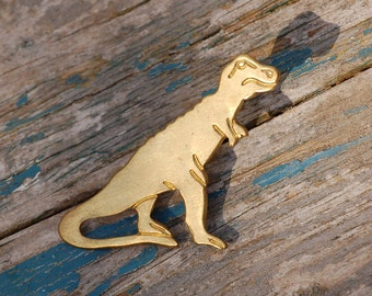 Dinosaur BROOCH Brass Tie Pin Tyrannosaurus Rex T-Rex Lapel Pin Allosaurus Paleontologist Jurassic Park Tie Tack