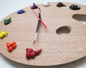 Artist Palette Wall Clock with 3D Paint Daubs - Unique Art Studio Student Decor or Painter Gift - TRADITIONAL, Left or Right Handed pallette