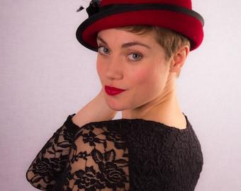 Red/black cute asymmetric felt hat CLEARANCE REDUCED 40%