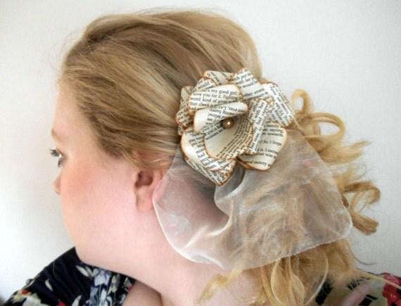 Paper text book rose flower hair clip bridal bridesmaid