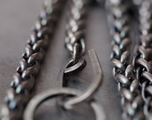 Men's chunky long sterling silver woven necklace