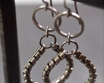 Dangly industrial silver chain and hoop earrings