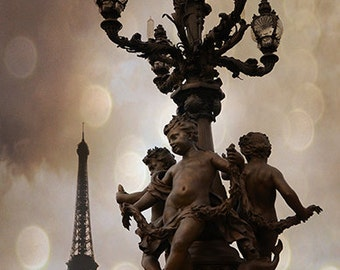 Paris Photography, Pont Alexandre III Bridge Cherubs Eiffel Tower Print, Paris Romantic Architecture, Eiffel Tower Bridge Lanterns Wall Art