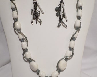 White Bone Necklace and Earring Set   FREE SHIPPING