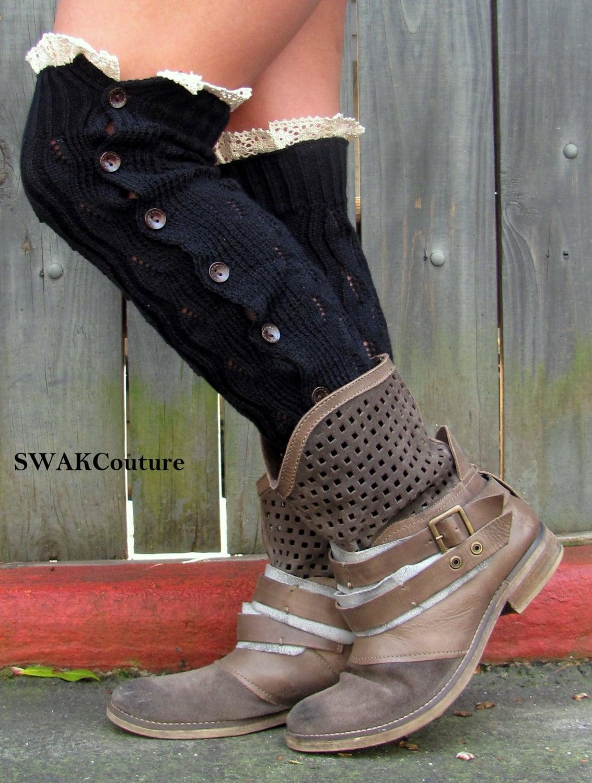 Black Knit Leg Warmers SALE Button Up Socks Lace Trim Boot