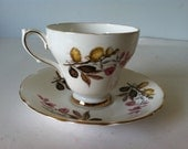 Royal Kendall Bone China Tea Cup and Saucer England Pink and Yellow Flowers