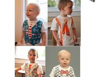 Boy SEW DAPPER Appliquéd Vest or Suspenders with Assorted Ties PDF Pattern Sizes Newborn-5
