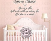 Every Once In A While God Gives Us A Miracle with Personalize Name Wall Decal Wall Decal Saying Quote  Cb0013