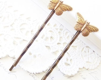 Butterfly Hair Pins - Bobby Pin Set - Woodland - Bridal - Ox Brass Butterfly - Wedding Hair - Nature - Wings