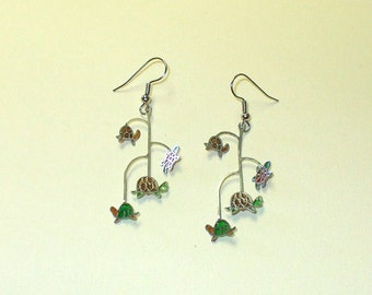 Vintage Stained Glass Style Turtle Earrings DEADSTOCK