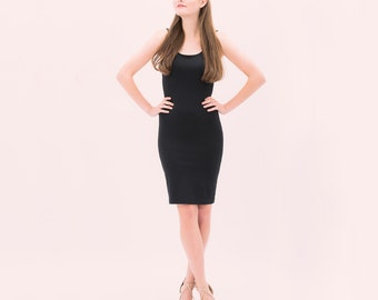 Chloé- Knee Length Bodycon Dress - black dress shown - Eco Fashion - bamboo clothing - knee length dress