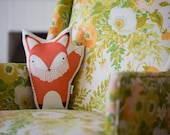 Fox Cushion, Fox Pillow, Foxy Cushion Cover, Animal Cushion, Fox, Orange Fox Pillow Decoration, Orange Woodland Nursery, Fox Nursery