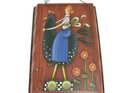 Hand Painted Cake Tin | Woman Riding Rooster