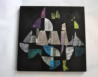 Original Mixed Media Painting Collage Art Artwork Black Light Pastel Colors Muted pale Blue Light Modern Graffiti Urban Indie Geometric