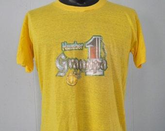 Near Burnout Vintage #1 Grandpa Papa Dad TShirt 70s Glitter Tee Yellow 1970s Retro LARGE