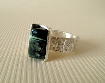Tourmaline Ring Sterling Silver Ring With Natural Tourmaline No 8 // Made In Your Size