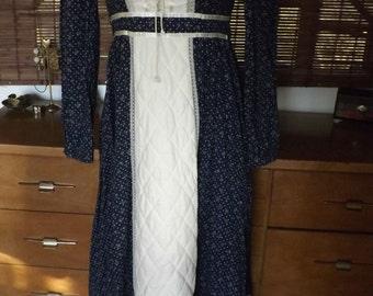 Vintage 70s Gunne Sax Calico Boho Maxi Peasant Dress S Free Shipping
