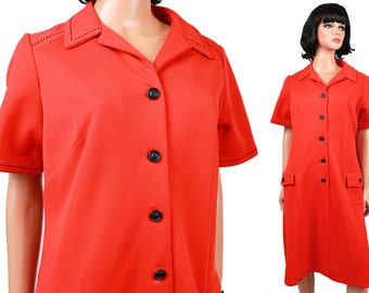 Vintage 70s Dress Sz L XL Orange Red Black Stitching Button Down Disco Costume Free US Shipping