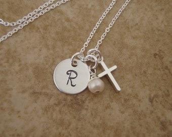 Girl's cross necklace - Dainty initial and cross necklace - Sterling Silver initial and cross necklace - Photo NOT actual size