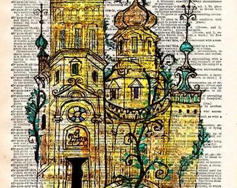 Vintage Book Print - Vintage Russian Illustration - Colourful Fairy Tale House - European Castle Art Print