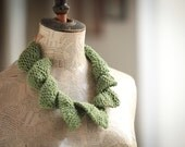 Green--Fiber jewelry--Unique Knitting necklace--Cotton--jewelry-knit with two needles- Curly  necklace     gift for her