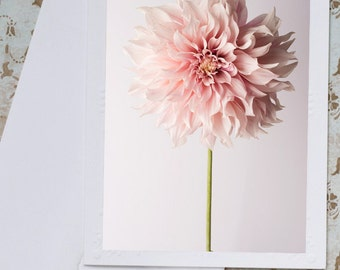 Floral Photo Notecard - Cafe au Lait Dahlia, Botanical Floral Photo Notecard, Stationery, Blank Notecard