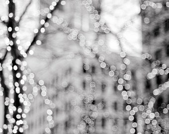 Urban Lights Photography - City Winter Holiday Scene, Black and White Fine Art Photograph, Wall Decor, Large Wall Art