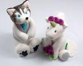 Wedding Cake Topper, Husky Dog, Unicorn, Personalized Wedding Cake Topper