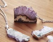 Druzy Silver Amethyst Slice Crystal Necklace - Natural Raw Chunky Stone Gemstone Semi Precious Purple Pendant Sterling Plated Dipped Coated