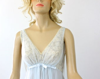 Vintage 60s Vanity Fair Nightgown Sheer Blue Nylon & Chiffon Lace Bust  Watteau Back Size 32 bust 36