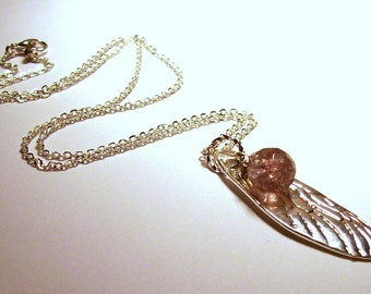 Silver Dragonfly Wing Necklace with Lavender Crackle Glass Accent