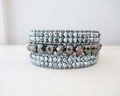 Wide Five Row Cuff Beaded Bracelet - Hematite and Blue Carmen