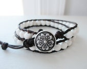 Snowflake White Magnesite Double Wrap Large Gemstone and Brown Leather Bracelet - 6mm gemstones