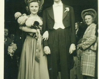 1930s Happy Couple on Wedding Day Bride Groom Flower Bouquet Tails Tux Vintage Black And White Photo Photograph