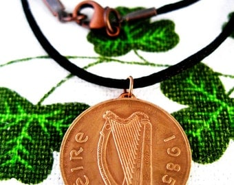 AUTHENTIC 1985 Irish Coin Birth Year Necklace/1985 2 Pence