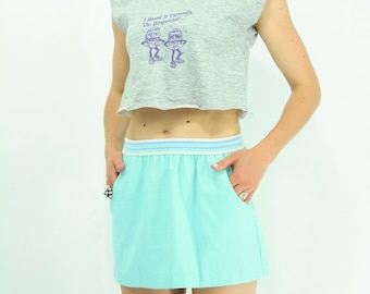 SALE...Vintage 80's Athletic Mint Blue Green High Waist Skirt / Mini Skirt / Skirt with Pockets
